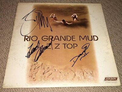 Zz Top Signed Rio Grande Mud Vinyl Lp Record! Complete Band Signed Billy Gibbons