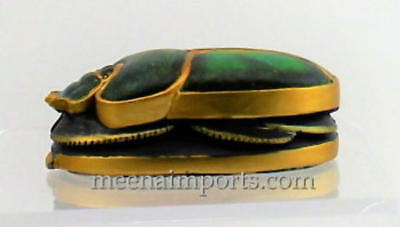 Green and Gold Scarab with Hieroglyph at the Bottom L 4""