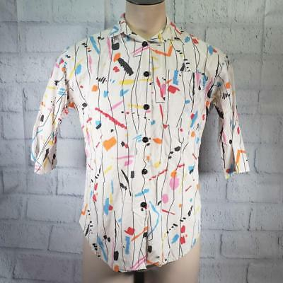 Vintage Hayes Street White Colorful Button Down Shirt 1980's/90's Mens Size S/M