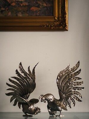 A pair of silver fighting cocks sculptures French Classic objet d'art design