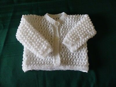 NEW - Hand knitted baby cardigan - white  000