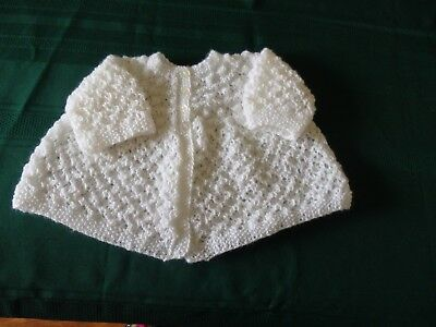 NEW - Hand knitted baby matinee jacket - 0000 to 000