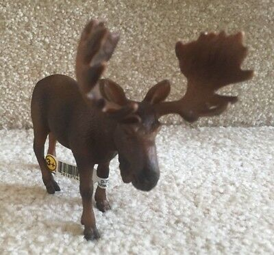 """Schleich  #14310 Bull Moose Toy Figurine Animal - 4""""  Retired FREE SHIPPING"""