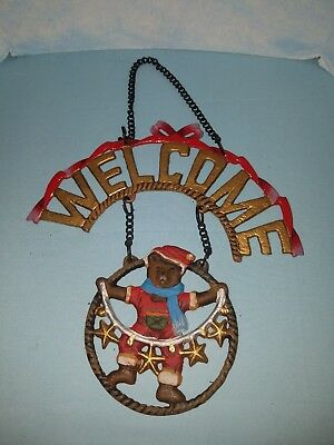 Cast Iron Christmas Bear Welcome Wall or door Hanging with Chain NEW