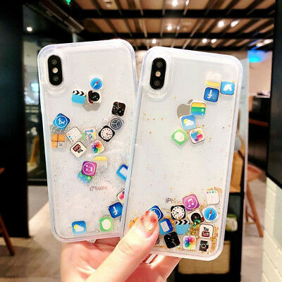 Cute Apps Icon Emoji Liquid Glitter Quicksand Case Cover For iPhone X XR XS Max