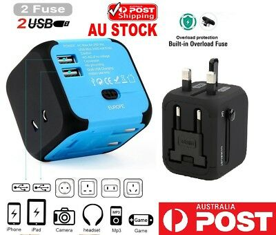 Universal World Travel 2 USB Plug Charger Adapter Power UK US EU AU Europe Asia
