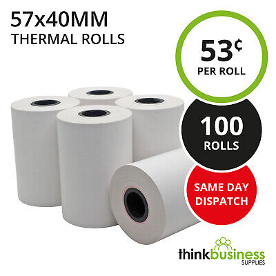 100 x Premium 57x40mm Thermal Paper EFTPOS Rolls for Cash Register Receipts