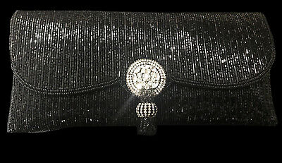 New Black Beaded  With Austrian Crystal Cluster Clasp & Beaded Tassel Clutch Bag