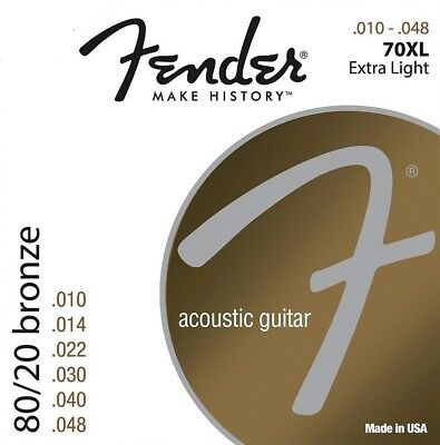 1 PACK Fender 70XL 80/20 Bronze Acoustic Guitar Strings - EXTRA LIGHT 10-48