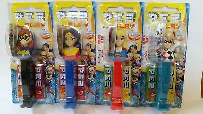 4 x DC SUPER HERO GIRLS PEZ CANDY DISPENSERS 17g - Collectable Pez candy -