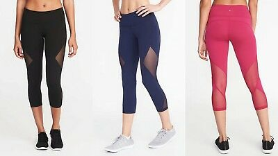 4a44a913d3 NWT Old Navy Go-Dry Mid-Rise Mesh-Panel Compression Crop Leggings Yoga