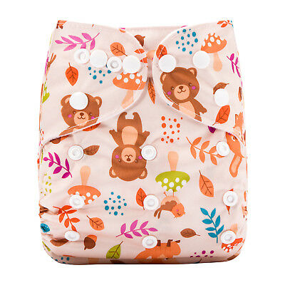 New Reusable Modern Cloth Nappy (MCN) + FREE insert – Cute Forest Teddy Bear