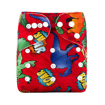 New Reusable Modern Cloth Nappy (MCN) + FREE insert – Bright Red Dinosaurs