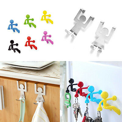2 Pc Stainless Steel Lovers Shaped Hook Kitchen Hanger + 6 pc Fridge Man Magnets