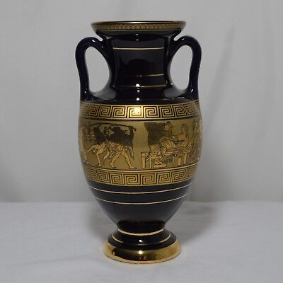 Vintage I. Spyropoulos Hand Made Greece 24K Gold Black Vase Greek Mythology 2