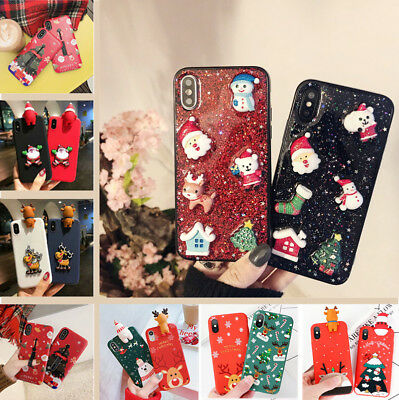New Various Christmas Pattern 3D Cute Case Cover For iPhone XS Max XR X 8 7 Plus