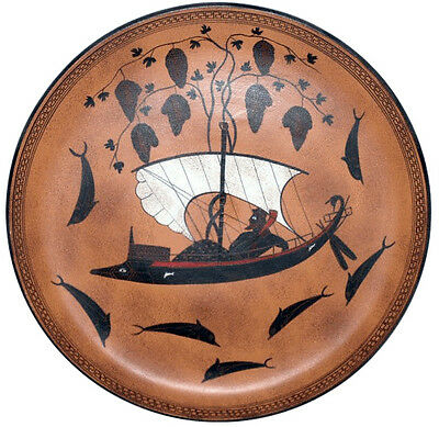 Dionysus Dionysos Plate by Exekias Athens 550 BC Greek Replica Reproduction