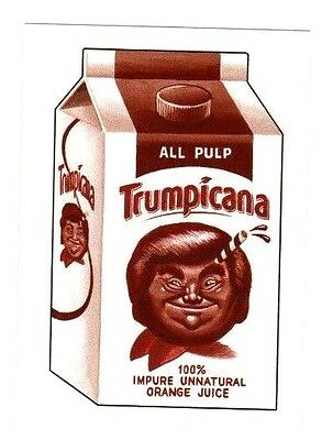 "2017 WACKY PACKAGES 50th ANNIVERSARY SEPIA STICKER ""TRUMPICANA"""