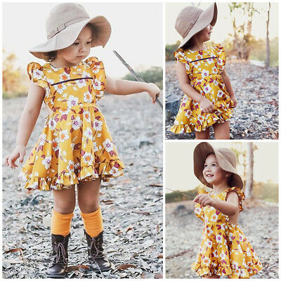 AU Toddler Kid Baby Girl Floral Princess Holiday Party Prom Short Dress Sundress