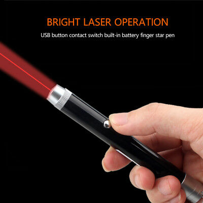Military Focus Green / Red Laser Pointer Pen USB Rechargeable Visible Beam Light