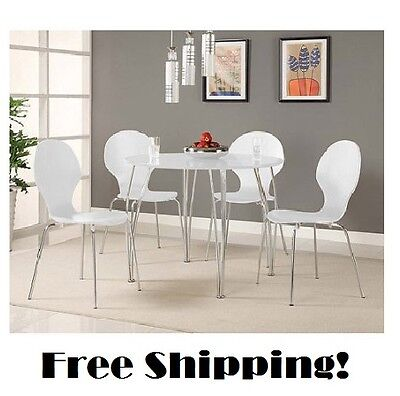 White Dining Table Set Round Kitchen Furniture Chairs Retro Wood Modern Dinette