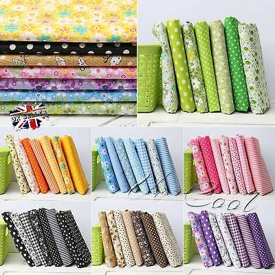 7pcs Fabric Fat Quarters Polycotton Material Florals Gingham Spots Craft 50*50CM
