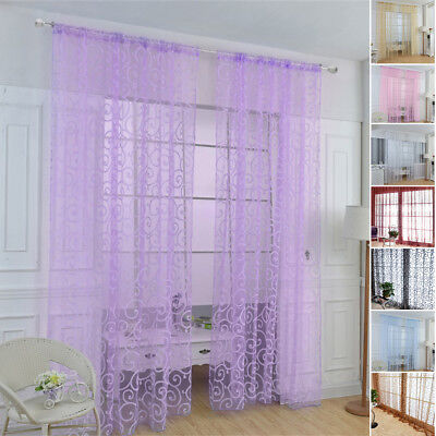 Modern Valances Floral Tulle Voile Door Window Colors Curtain Drape Panel Sheer.