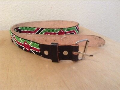 African-Arena Maasai Masai Handcrafted Ethnic Tribal Beaded Leather Belt AA14