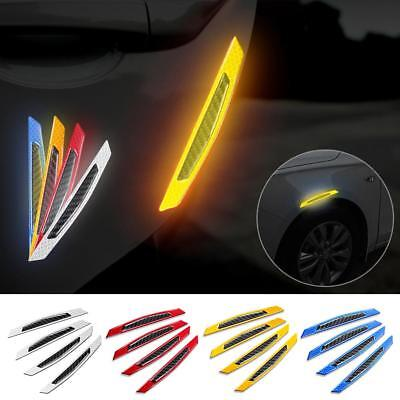 4Pcs Car Body Door Reflective Safety Warning Anti-Collision Sticker Protector