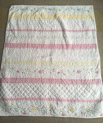 The Little White Company Cotbed Quilt Throw Blanket Flowers Girl Cover