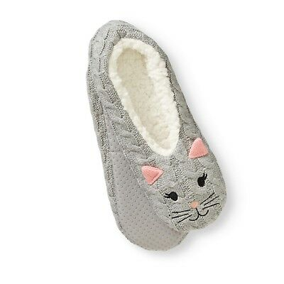 Women Soft Knit Grey Kitty Cat Slipper Socks House Shoes Warm Furry  Snoozies