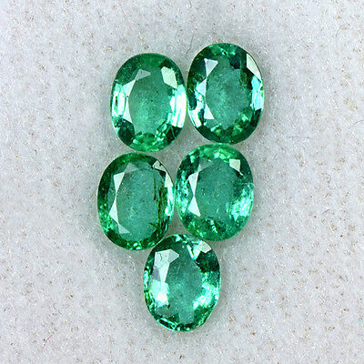 1.80 cts Natural Lustrous Top Green Oval Cut Lot Emerald 5x4 mm Zambia Gemstone