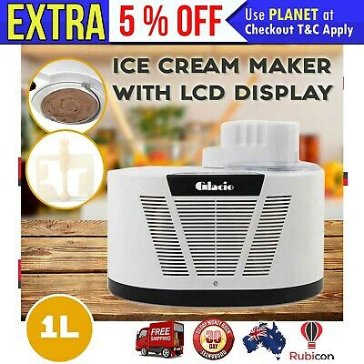 New Ice Cream Maker with LCD Display 1L 150W with Detachable Bowl 10-60min Timer