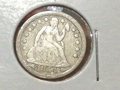 1854 10C Arrows Liberty Seated Dime VF