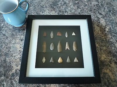 Neolithic Arrowheads in 3D Picture Frame, Authentic Artifacts 4000BC (P002b)