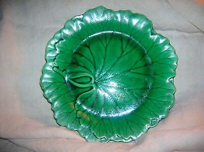 "Wedgwood Majolica Green Cabbage Leaf Plate 8"" Figured Edge Antique 4KC Pottery"