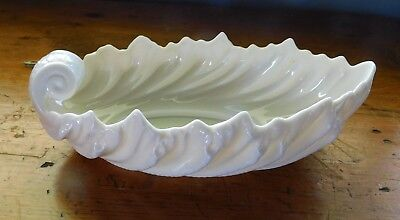 Lenox Acanthus Leaf/Shell Shape Candy Dish Nut Bowl Made in USA Green Hallmark