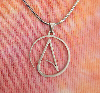 Atheist Necklace, Stainless Steel Atheism Symbol Sign Charm Pendant in Gift Box