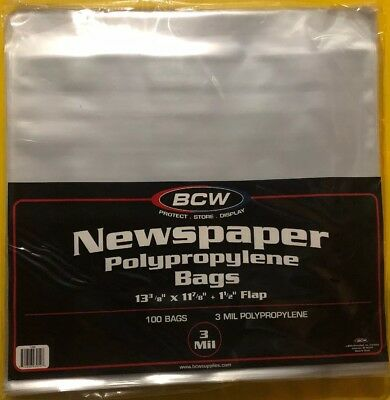 "100 BCW 13-3/8"" X 11-7/8"" NEWSPAPER STORAGE BAGS w/1.5"" flap Archival Clear Poly"