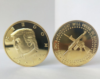 2018 Donald Trump Freedom Challenge Coin - Gold Plated - 2nd Amendment Gun new