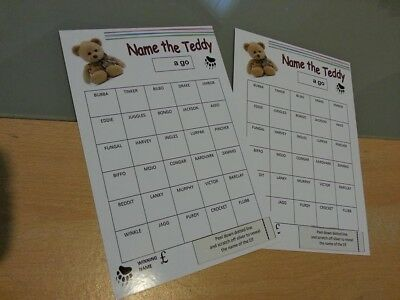 2 x Name The Teddy Scratch Cards A5 Name The Bear Fundraising Pub Club FREEPOST