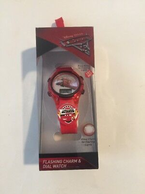 Disney Pixar Cars 3 McQueen Flashing Charm & Dial LCD Kids Light Up Watch New