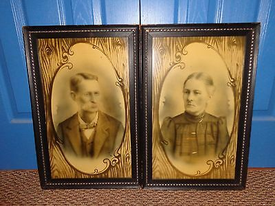 Antique Framed Pair of Matching Photographs of a Husband & Wife, Vintage