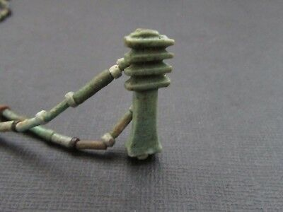 NILE  Ancient Egyptian Djed Column Amulet Mummy Bead Necklace ca 1000 BC
