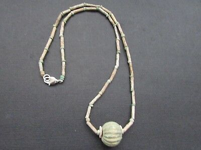 NILE  Ancient Egyptian Melon Amulet Mummy Bead Necklace ca 600 BC