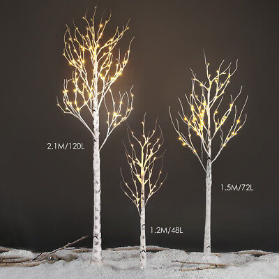 Xmas 5FT 72LED Silver Birch Twig Tree Warm White Light Waterproof White Branches
