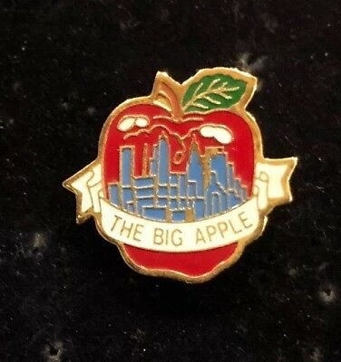 """Hat Lapel Push Pin New York Big Apple With Skyline NEW Approximately 7/8"""""""