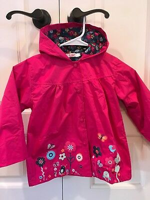 LZI I Girls Pink Hooded Rain Jacket Floral Pattern Blue Liner Size 130