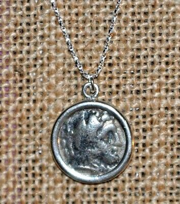 Alexander The Great Authentic Ancient Drachm Coin 925 Sterling Silver Necklace