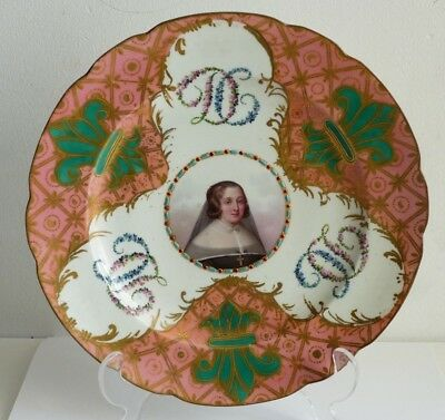 SUPERB Antique 19th Century French Sevres Style Porcelain Cabinet Plate-Jewelled